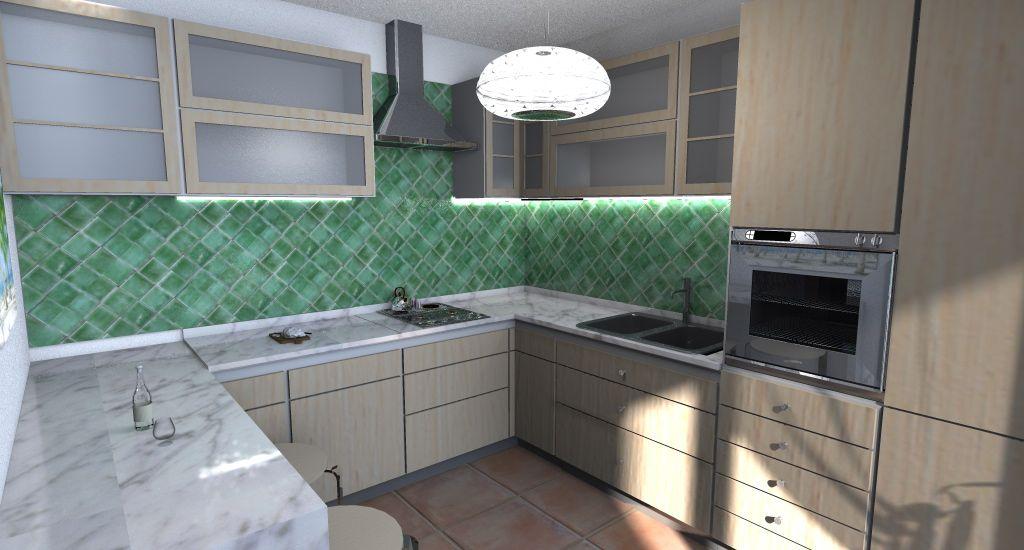 Cucina legno chiaro marmo e piastrelle in cerasarda verdi para