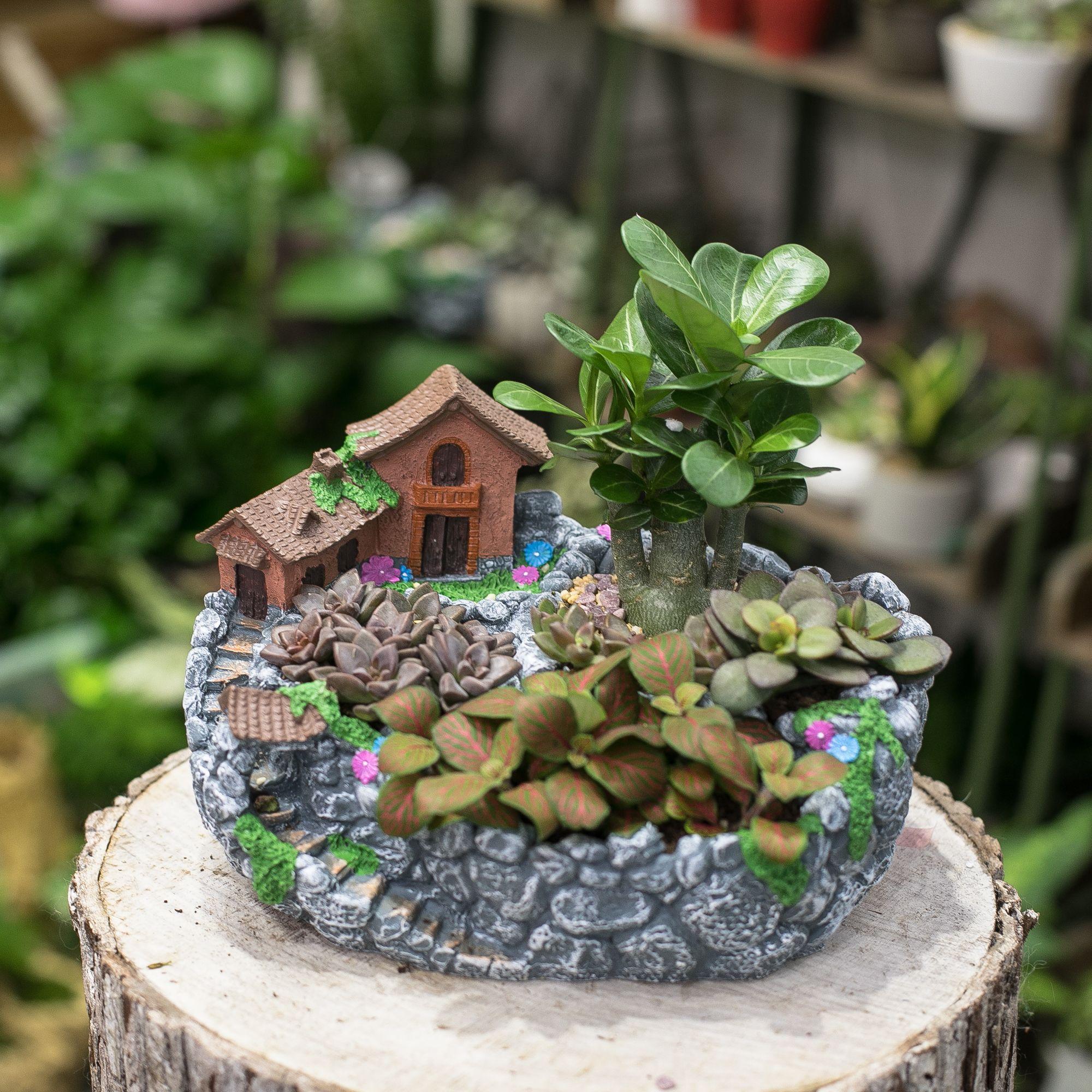Resin Artificial Twisted Driftwood Flower Pot Sculpture Succulent Planter 2
