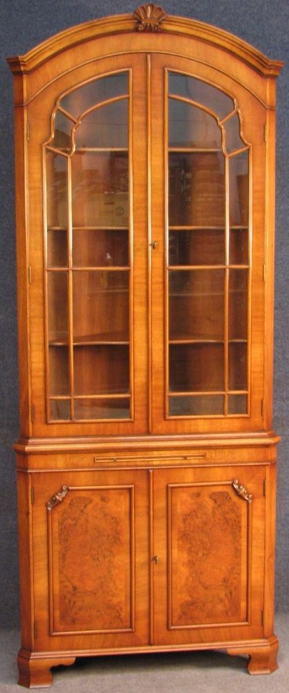 Georgian Style Tall Walnut Arched Top Corner Cabinet On ...
