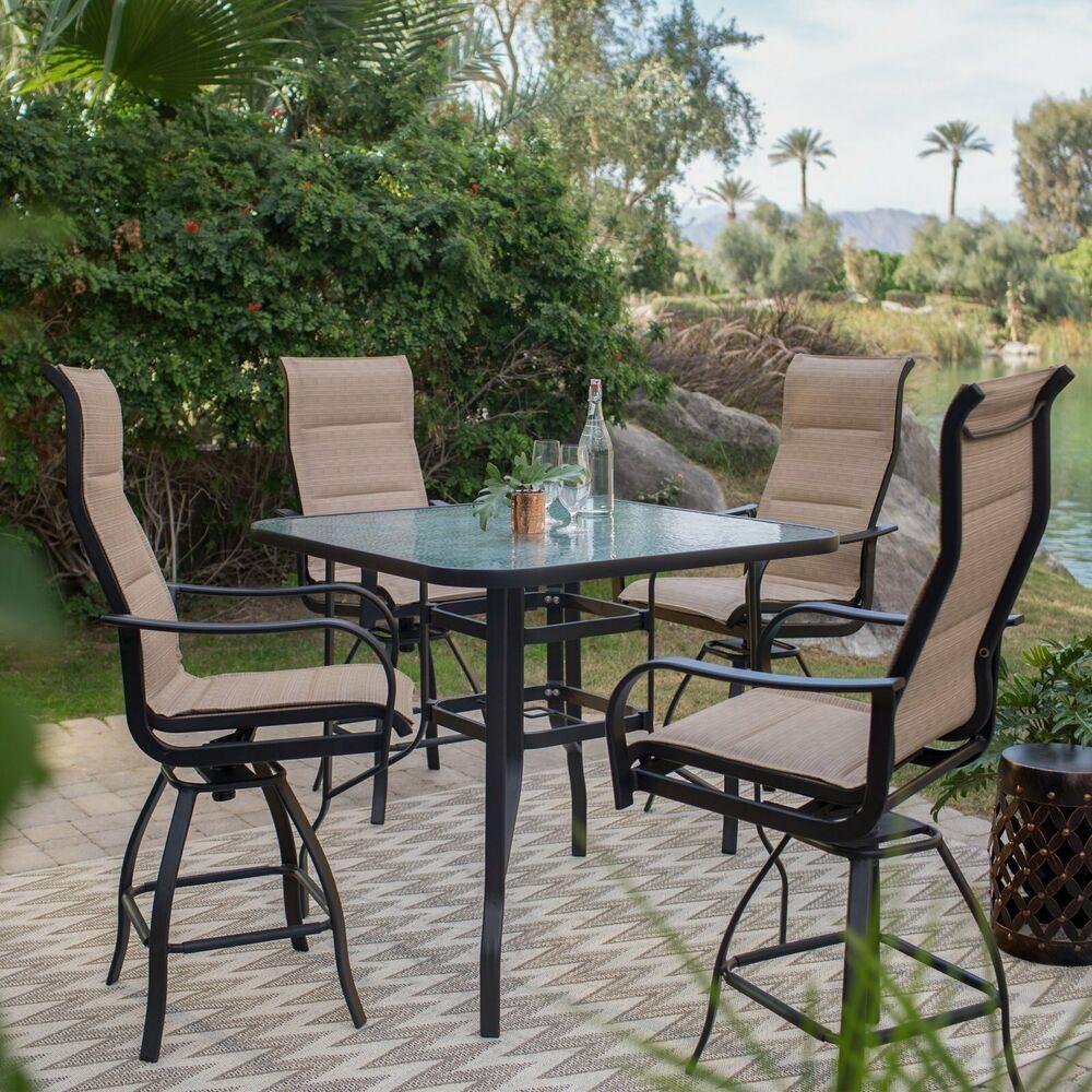 Patio Height Dining Set 5pc Aluminium 4 Swivel Base Chair Glass Top Table Garden Alfrescohomellc Patioheightdini Patio Set Outdoor Patio Set Patio Dining Set