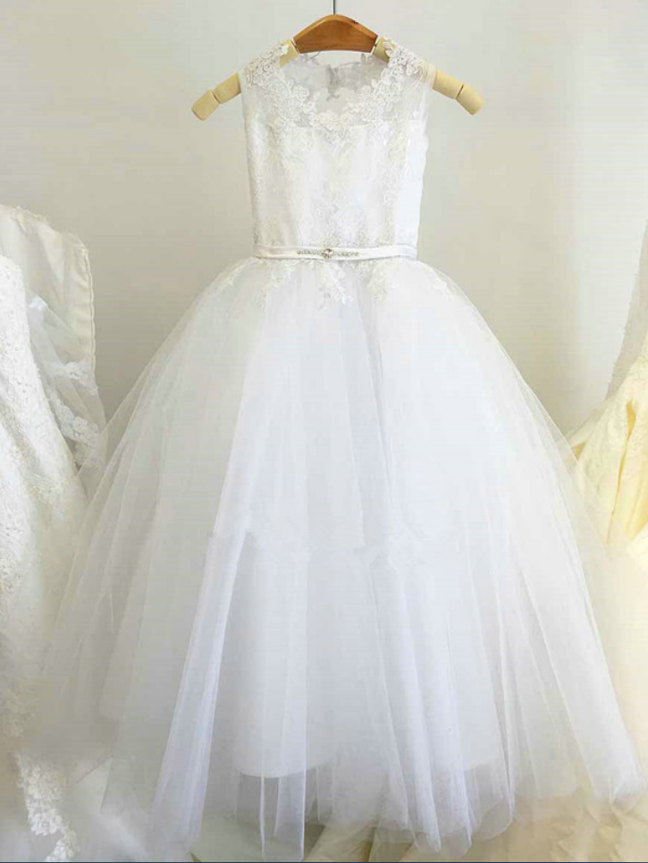 51fc0e0bc2414 Flower Girl Dress, New Ball Gown Lace Appliques White Princess Flower Girl  Dresses With Sash Bow, Gi on Luulla