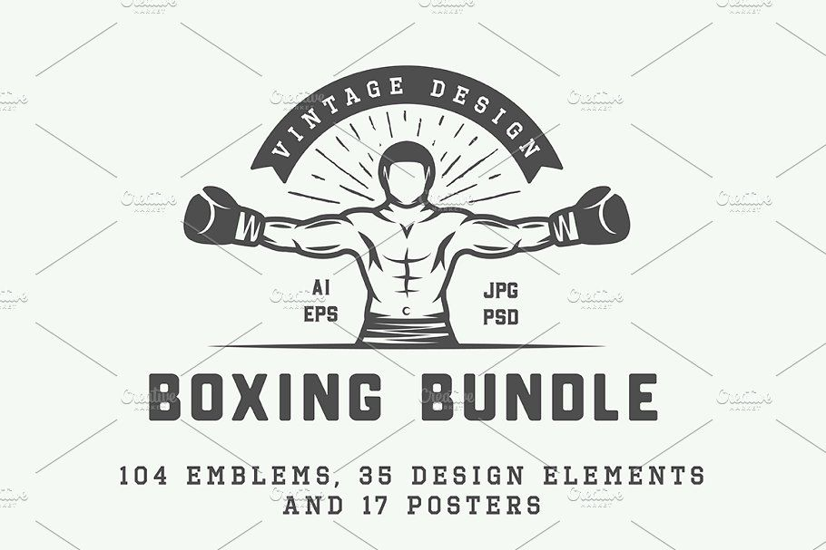 Ad: Vintage Boxing Bundle by AkimD on @creativemarket