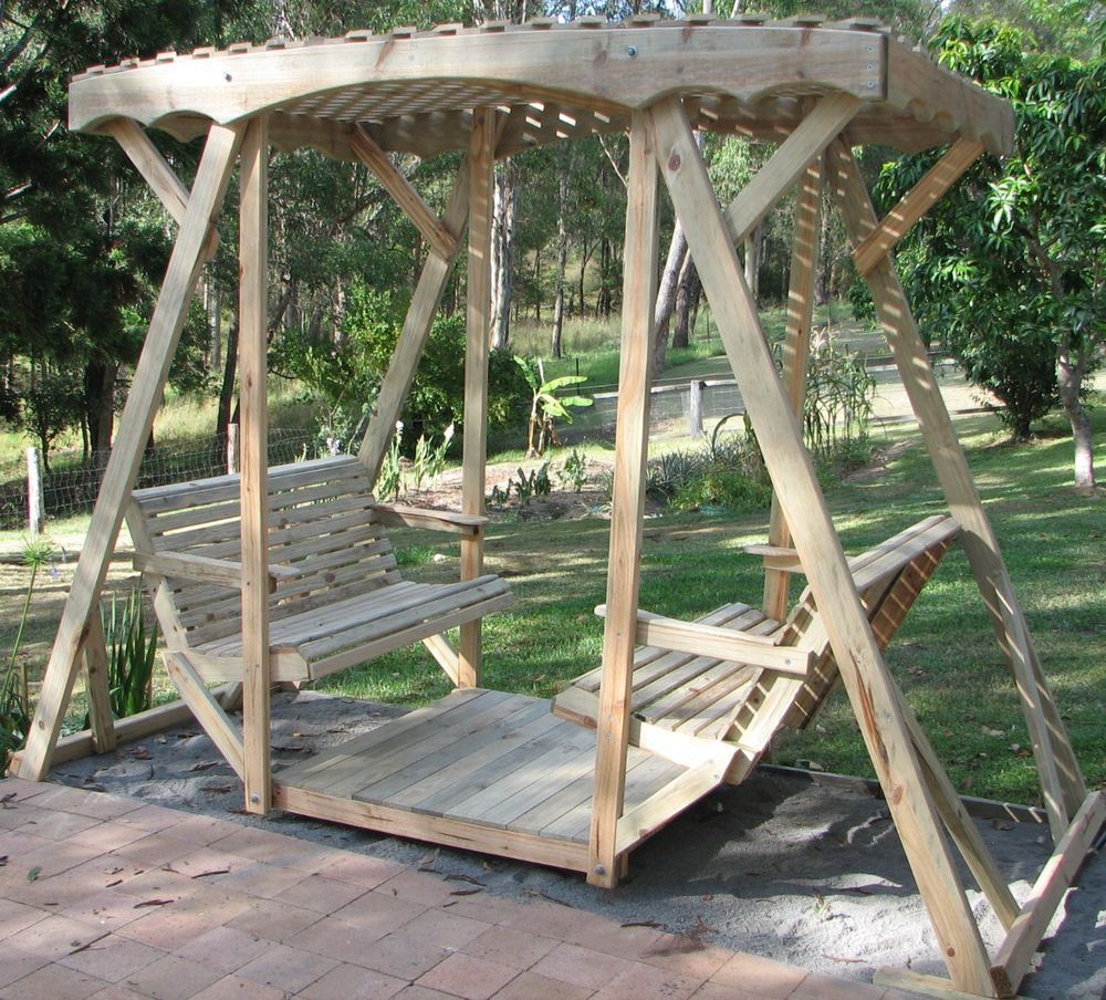 Double lawn glider swing seat platform yard chair bench for How to build a swing chair