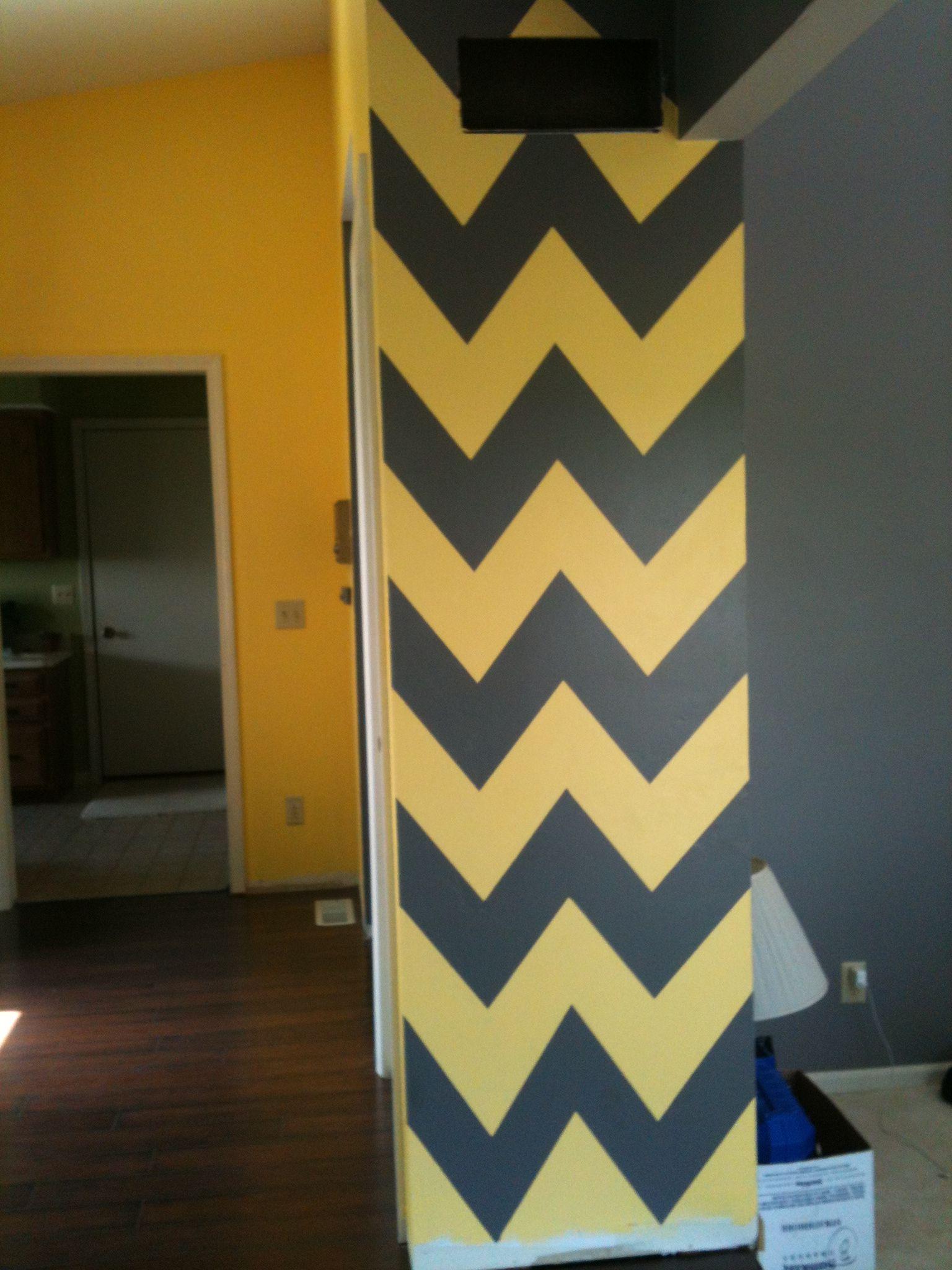Dark gray and yellow chevron accent wall. | Home Decor | Pinterest ...