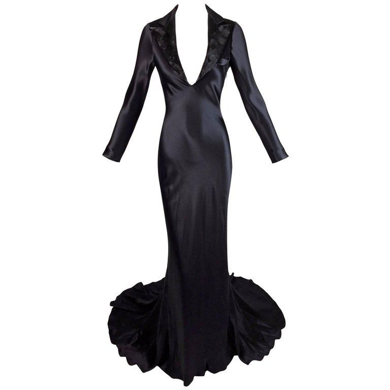 3448f2fd0897 S S 2007 Alexander McQueen Beaded Plunging Black Tuxedo Gown Dress 38 w  Train