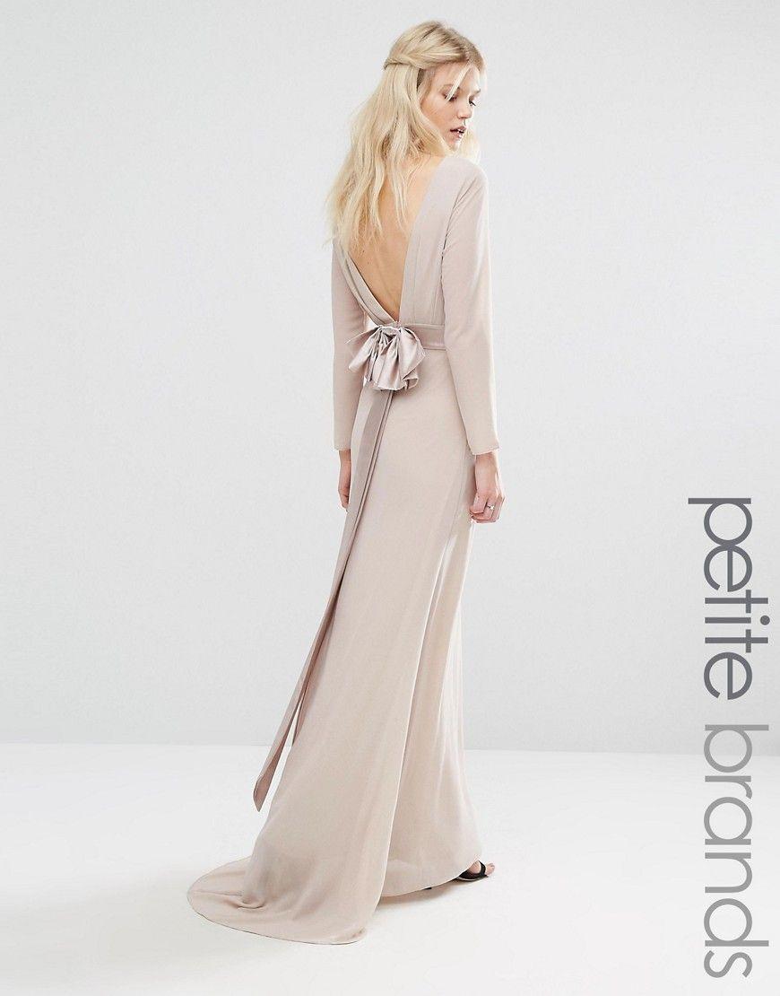 Tfnc petite wedding bow back maxi dress with long sleeves