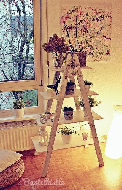 s\u0027Bastelkistle Regal aus einer alten Leiter Room Pinterest - dekorative regale inneneinrichtung