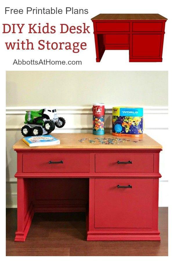Diy Childrens Desk Plans With Storage Diy Childrens
