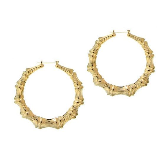 Celebrity Style Large Bamboo Earrings With Yellow Gold Or 14k Gold Filled As Hilary Duff Kim Kardi Bamboo Earrings Gold Bamboo Earrings Gold Star Earrings