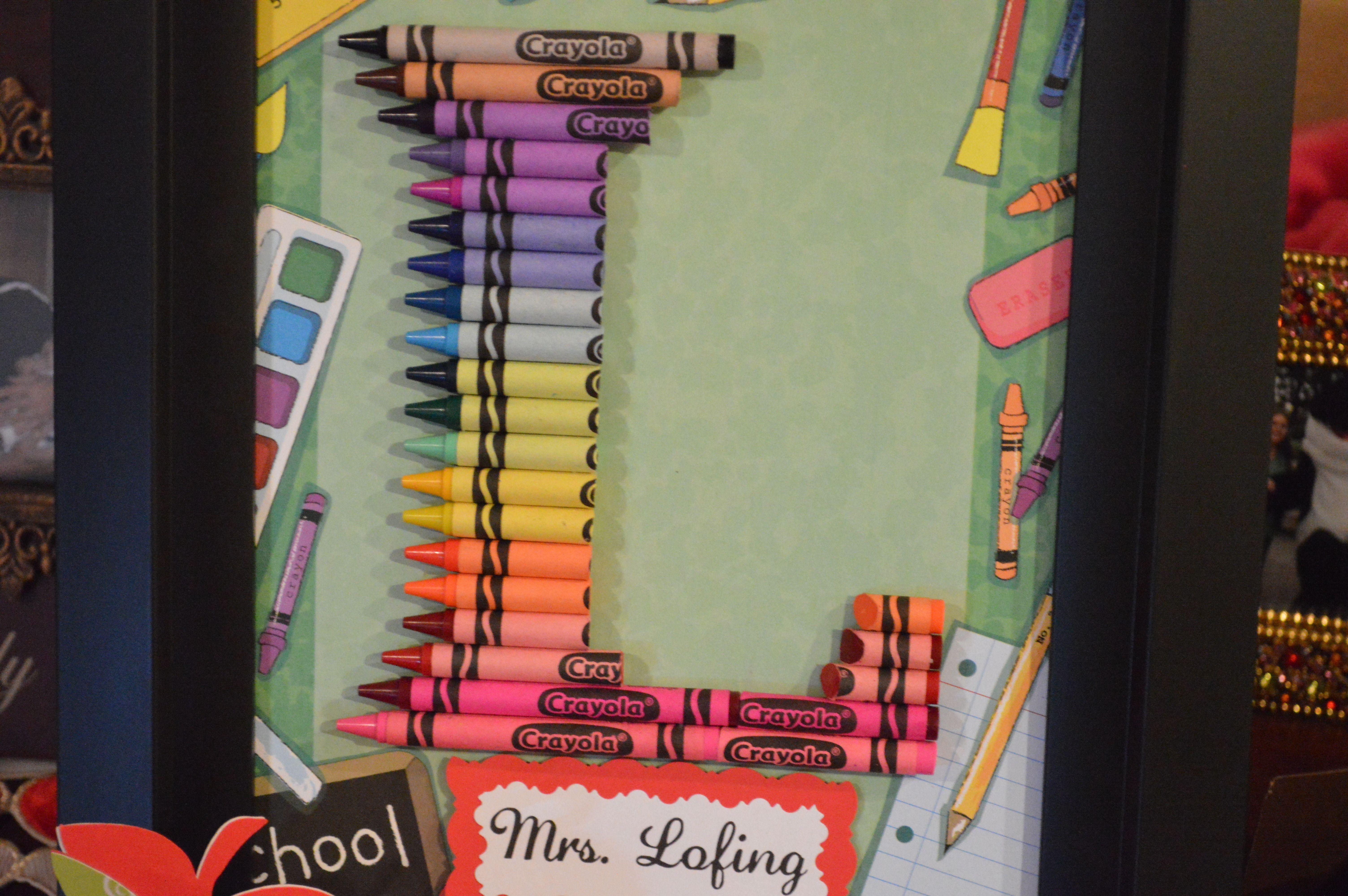 Teacher Gift   Crayon Letter Framed Art Letter L   Crayon Letter