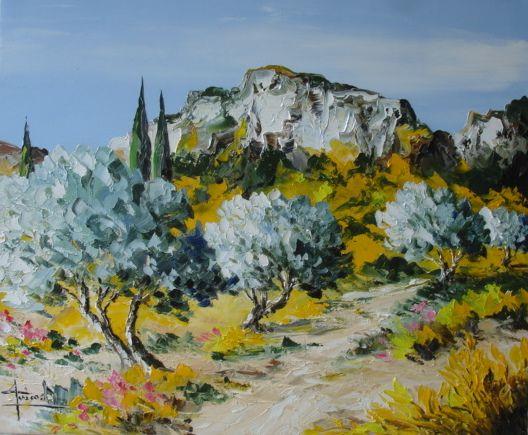 Les Alpilles 1 Arbres En Aquarelle Peinture Paysage Peinture D