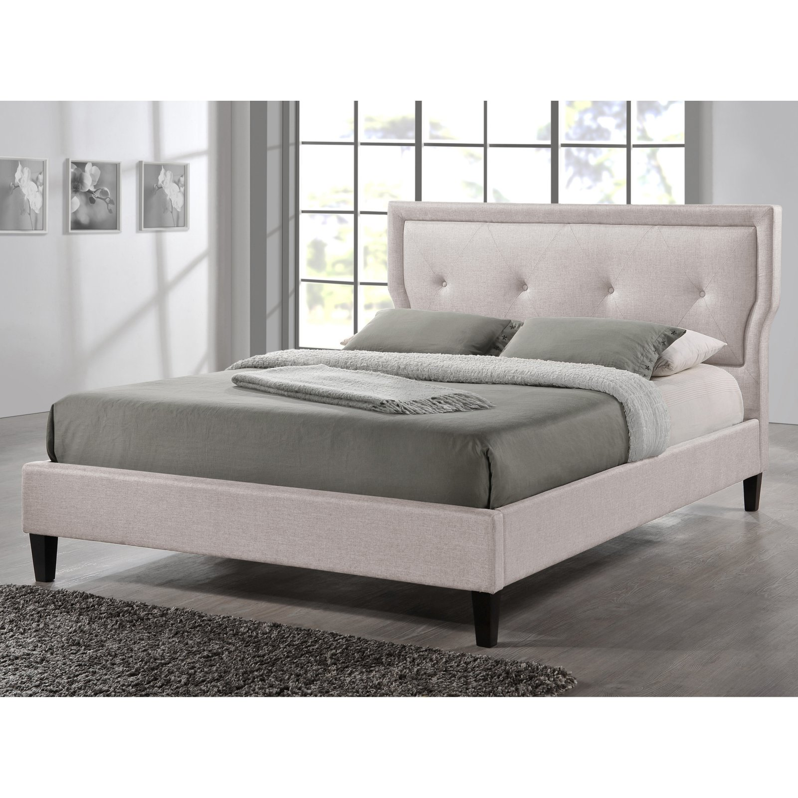 Baxton Studio Marquesa Upholstered Platform Bed Light Beige Size