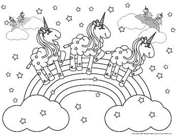 Coloring Pink Fluffy Unicorns Dancing on Rainbows
