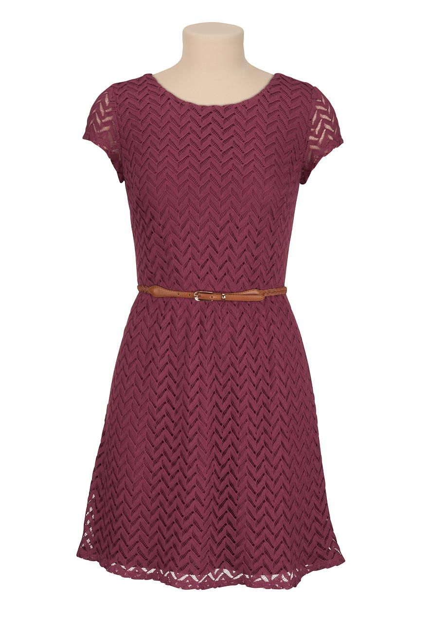 Short sleeve textured lace dress with belt maurices