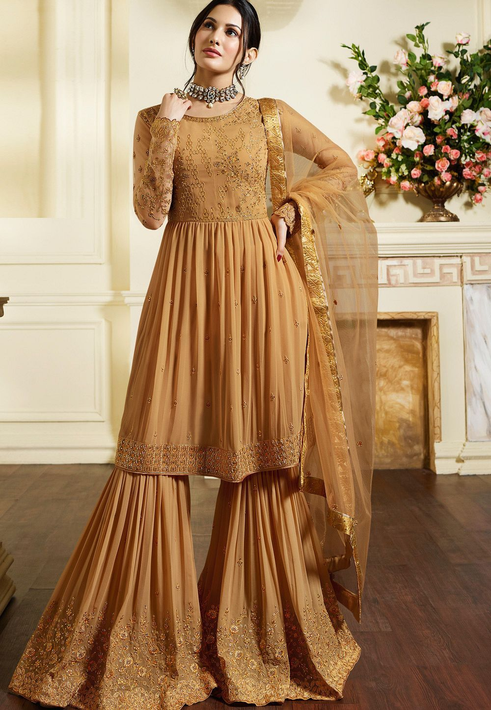 9a9479b683 Beige satin georgette embroidered sharara style pakistani suit 4054 ...