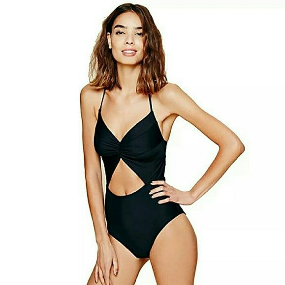 """NEW Classic High Waisted Monikini Padded one piece Monokini in black.  High waisted full bikini briefs. Hook back closure and removeable padding.  This size Medium is best suited for hips under 36"""". Fits multiple cup sizes but suited for a 28/30/32/34 band size. Blooming Jelly  Swim One Pieces"""