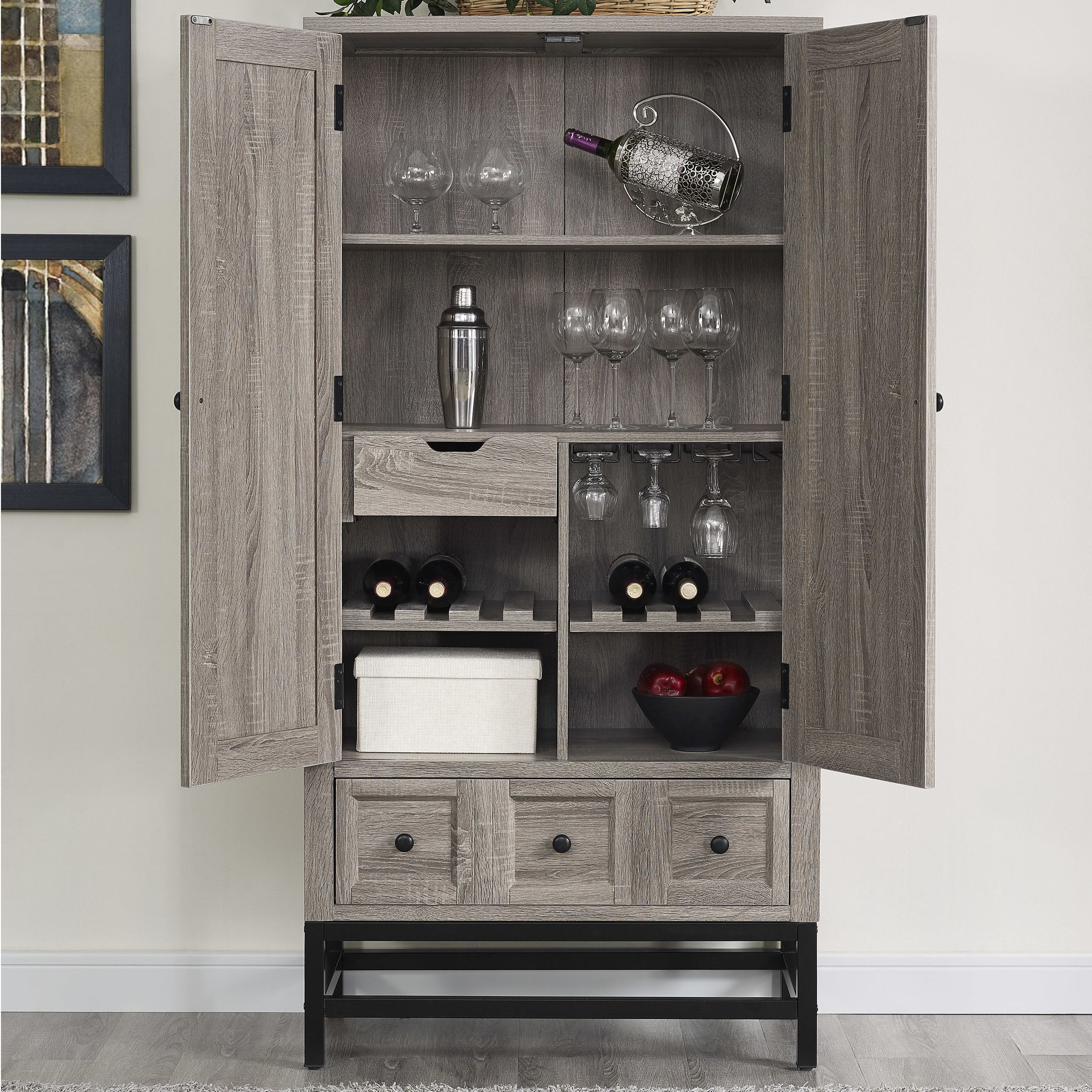 Laurel Foundry Modern Farmhouse Omar Beverage Cabinet Rustic Bar Cabinet Cabinet Sonoma Oak