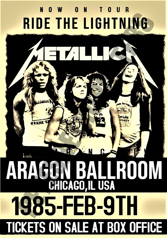Metallica Vintage Concert Poster Aragon Ballroom Chicago Usa 1985 Vintage Concert Posters Concert Posters Music Concert Posters