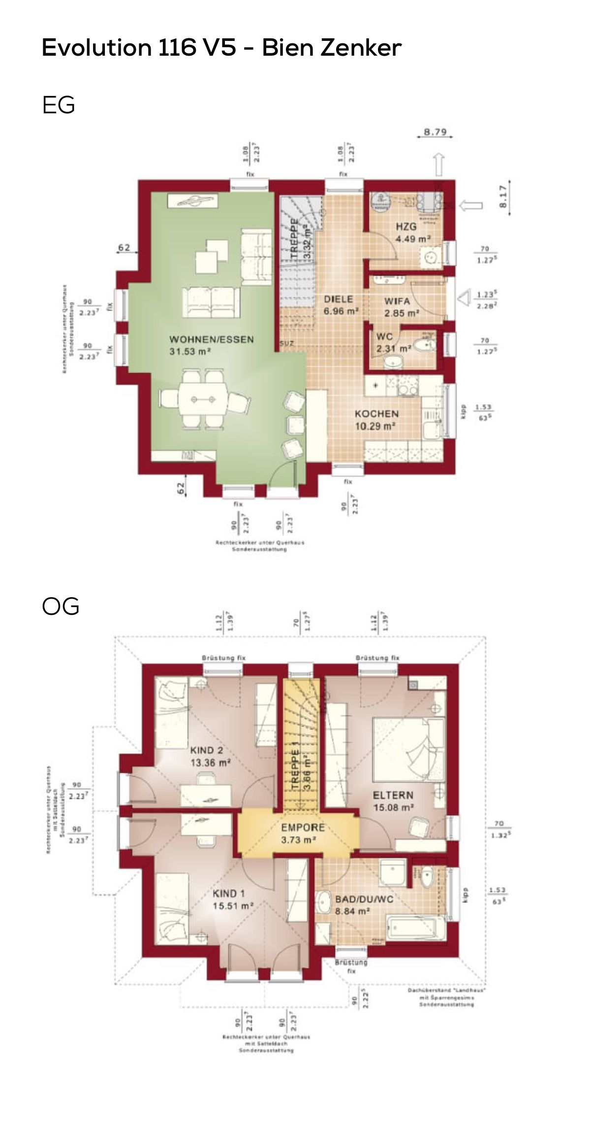Stadtvilla Grundriss 4 Zimmer 115 Qm Wohnfläche Erdgeschoss Obergeschoss Gerade Treppe