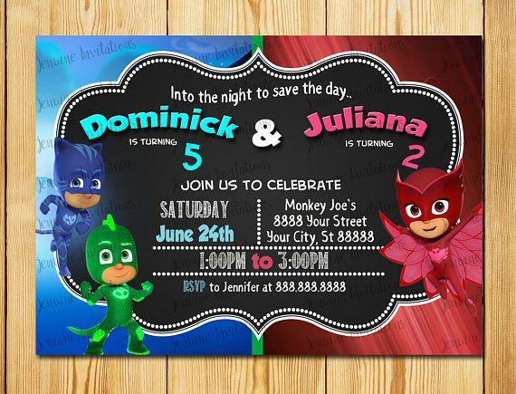 Pj mask dual birthday invitations pj mask sibling birthday pj mask pj mask dual birthday invitations pj mask sibling birthday filmwisefo Images