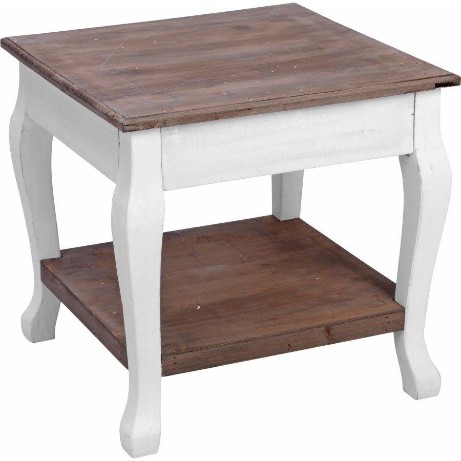 Beistelltisch 46x46x45cm weiß-braun Holz Pflanztisch Tisch Holztisch Couchtisch