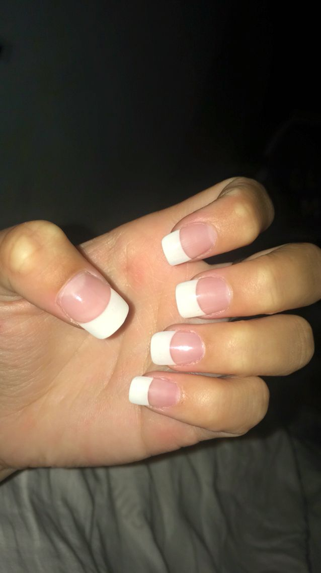 French Tip Squoval Shape French Tip Acrylic Nails French Manicure Acrylic Nails French Tip Nails
