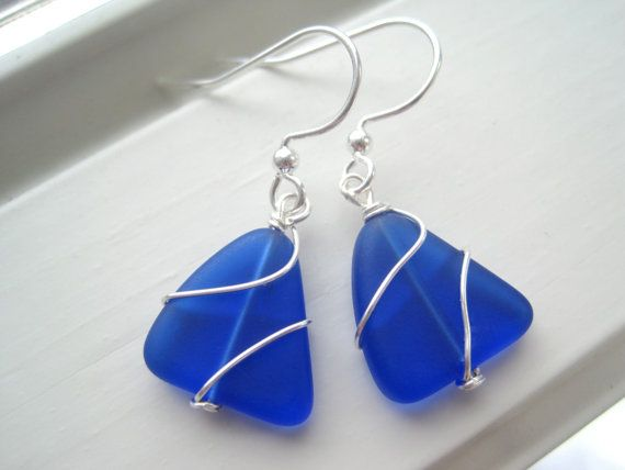 Cobalt Blue Earrings - Sea Glass Earrings - Royal Blue Jewelry ...