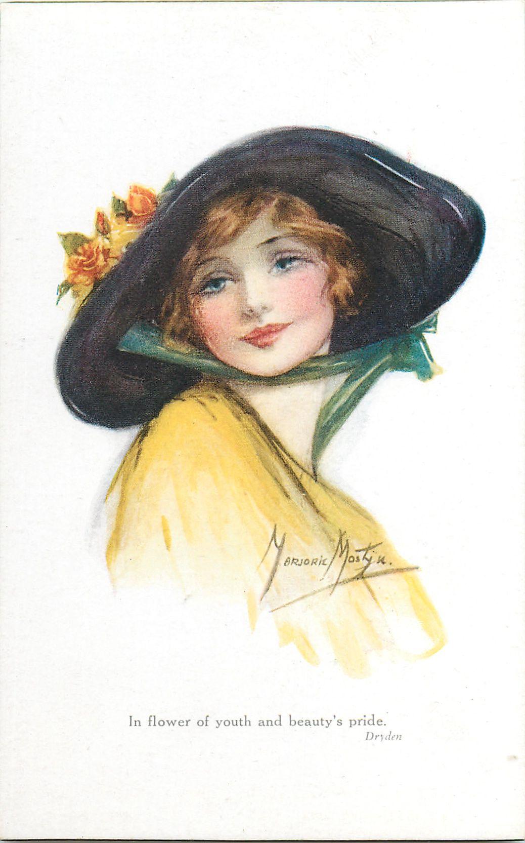 Woman In Yellow Dress Black Hat Faces Right Looks Back Over Her Shoulder Vintage Illustration Vintage Art Colorful Portrait