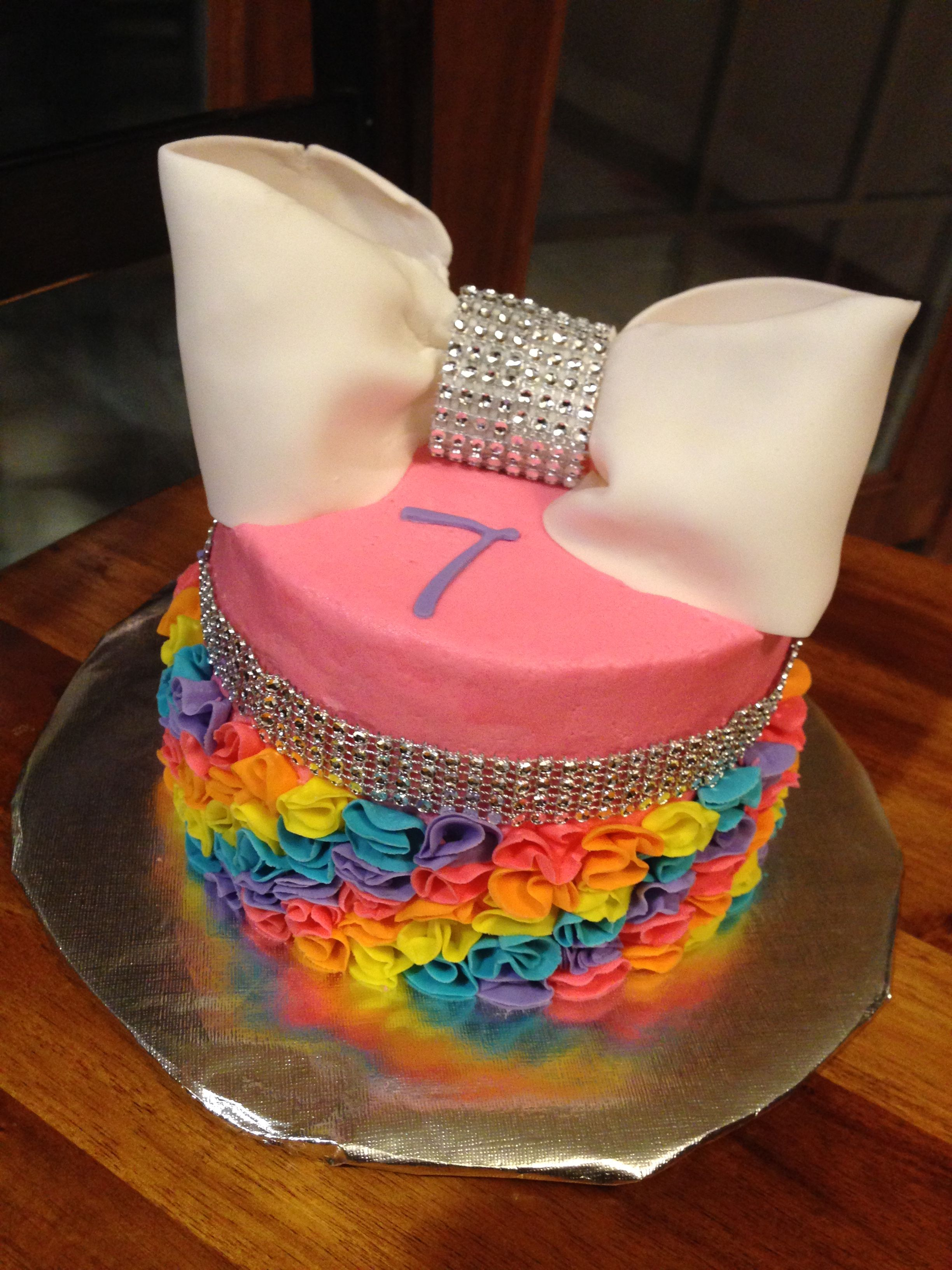 Jojo bow inspired rainbow birthday cake i made for girl