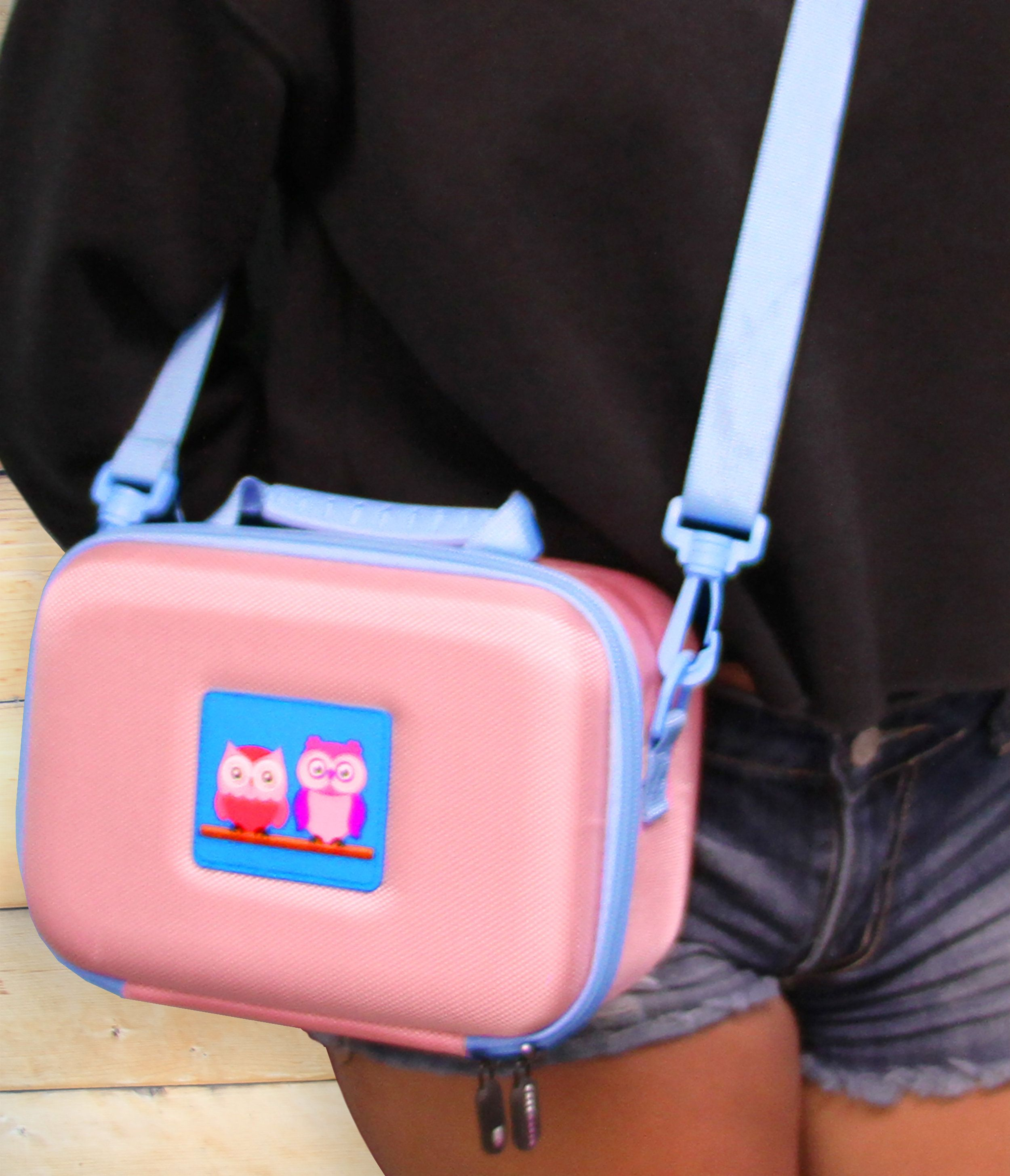 CM Toy Camera Case for Action Cams , Digital Cameras Such as Ourlife Drograce Vantop Seckton and More with Shoulder Strap - Pink Case Only