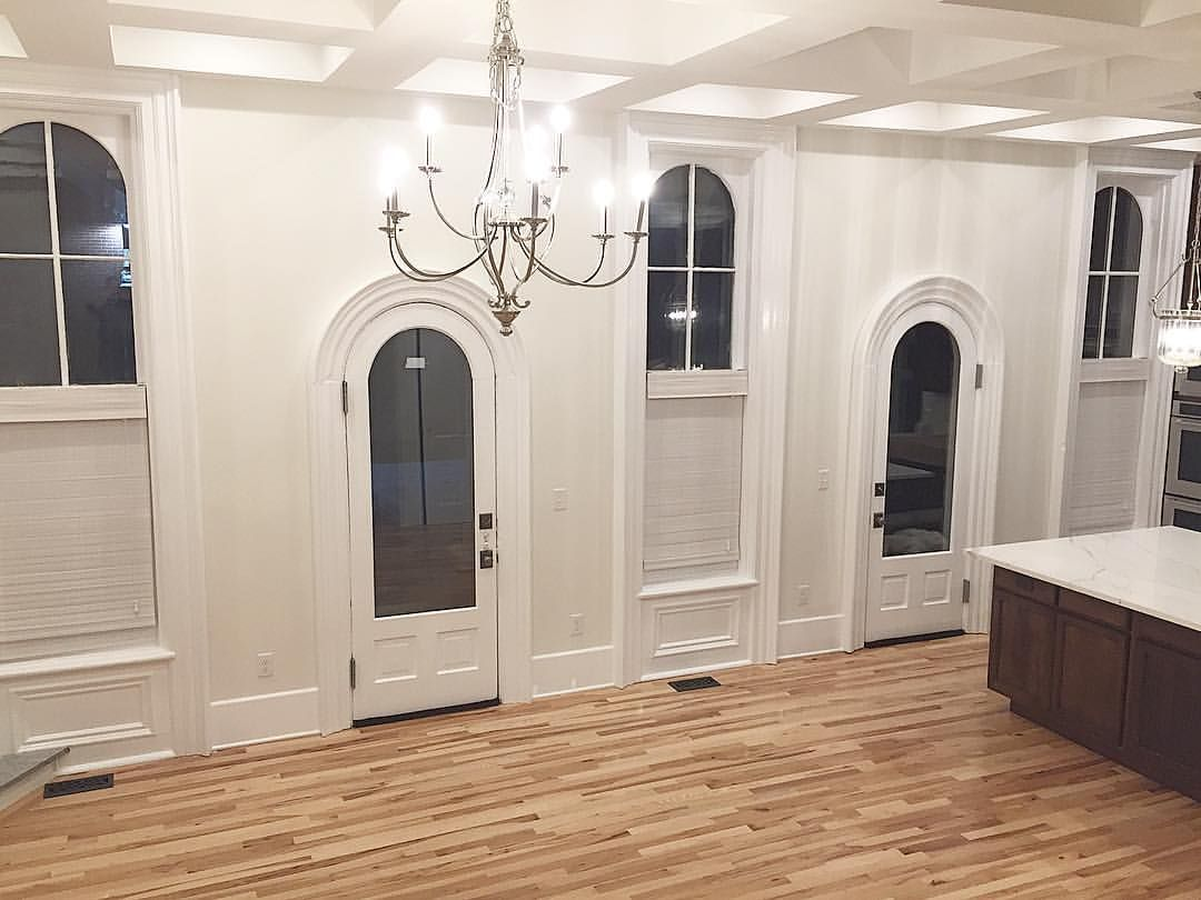 Kitchen with coffered ceiling sherwin williams alabaster walls and solid hickory floors