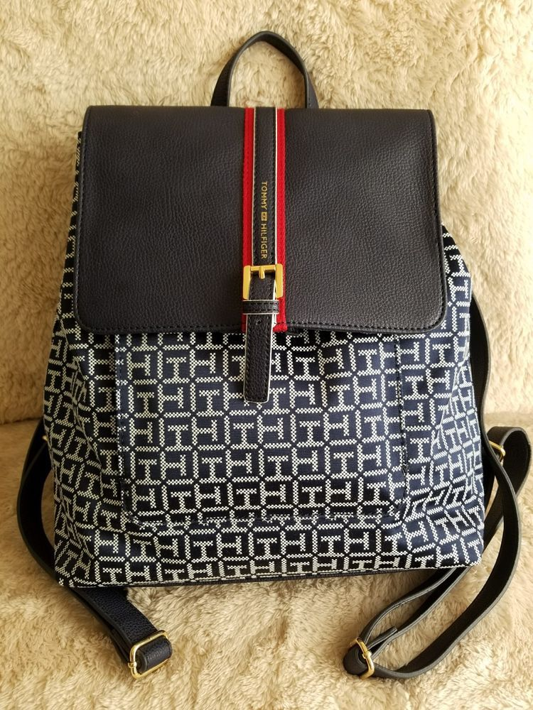 e6abce5a7 Find many great new & used options and get the best deals for Tommy  Hilfiger Navy Back to School Preppy Signature Logo Backpack Bag at the best  online ...