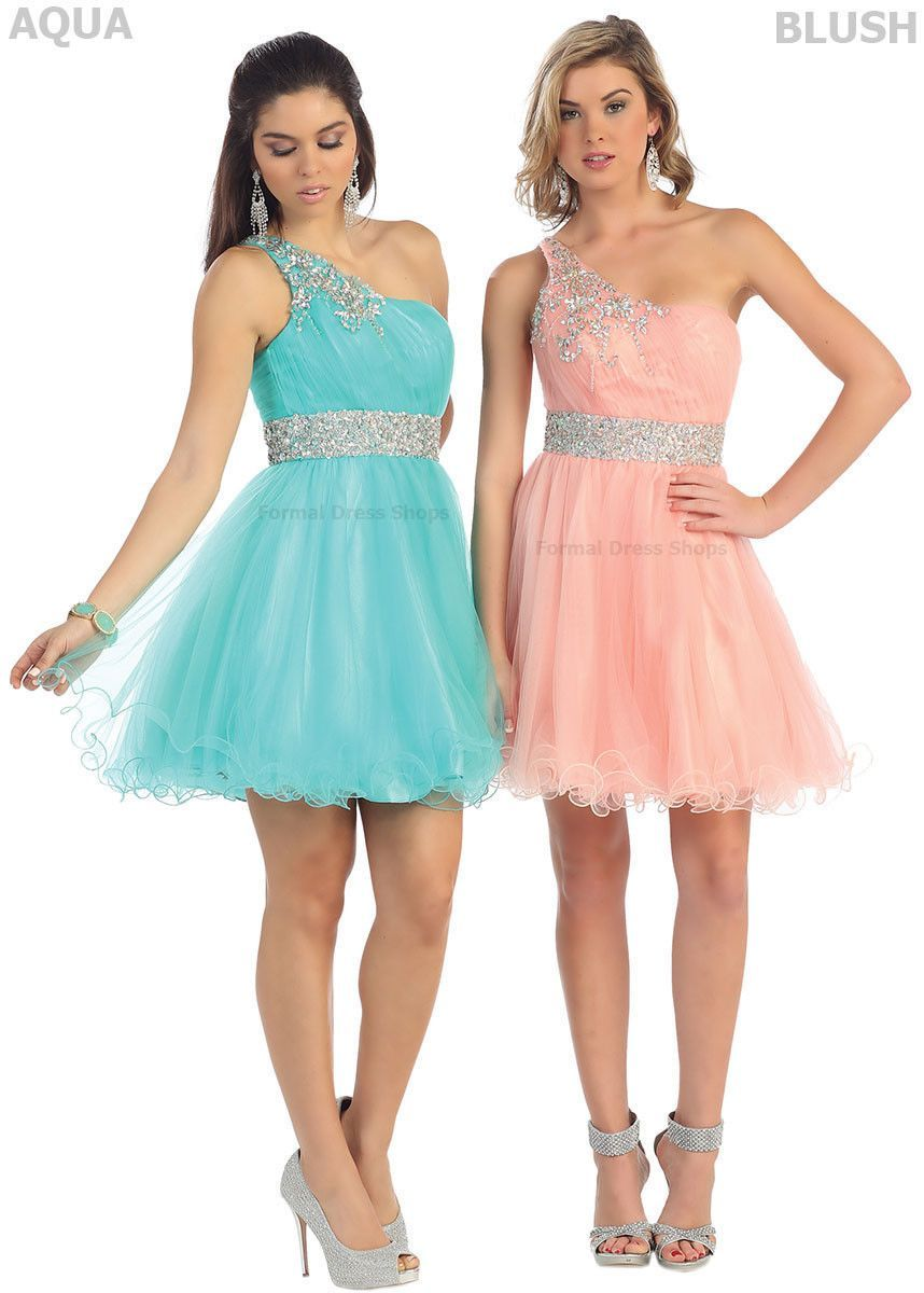 42961ba42b5 One Shoulder Short Homecoming Queen Dresses Semi Formal Cocktail Dance Party