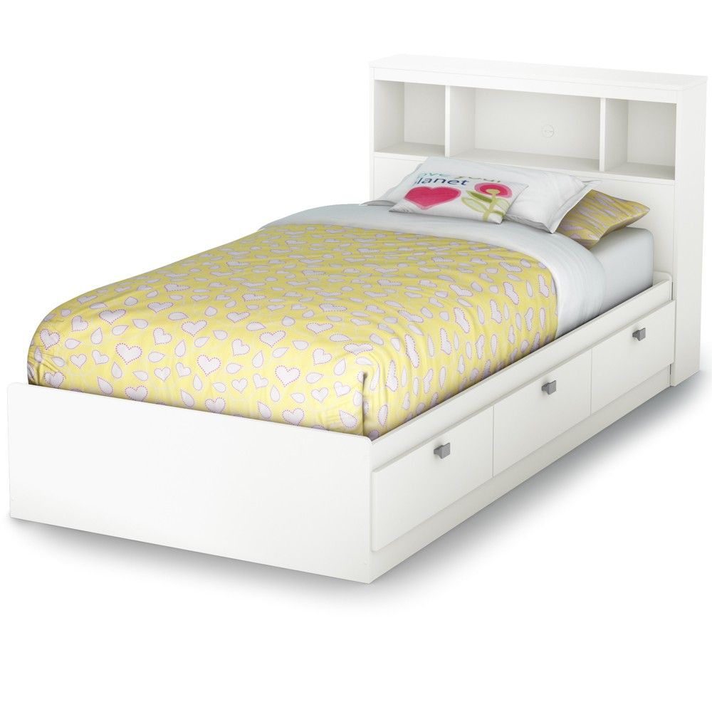 Twin bed with storage and headboard - Cakao Wood Bookcase Mate S Bed 3259 In Pure White By South Shore Twin Bed Base Headboard