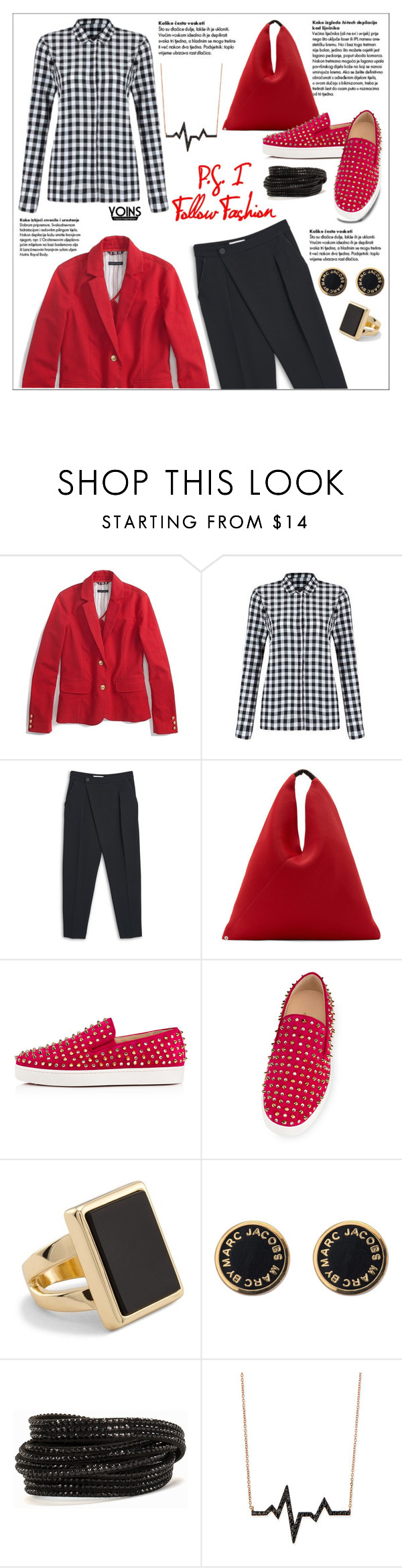 """""""Yoins contest"""" by ceci-alva ❤ liked on Polyvore featuring MANGO, MM6 Maison Margiela, Christian Louboutin, Chico's, Marc by Marc Jacobs, Pieces and Diane Kordas"""