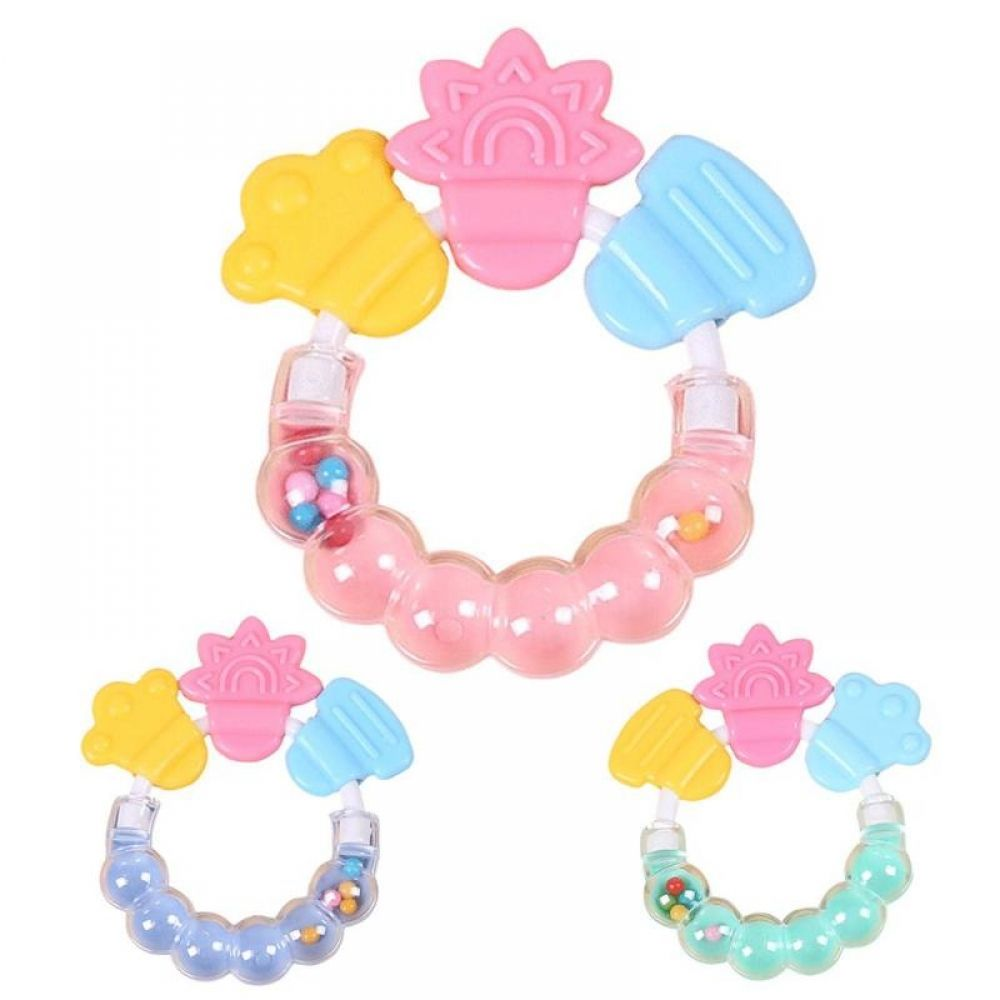 Newborn Baby Silicone Handbell Teether Toy Teeth Biting Baby Rattle Bed Bell New