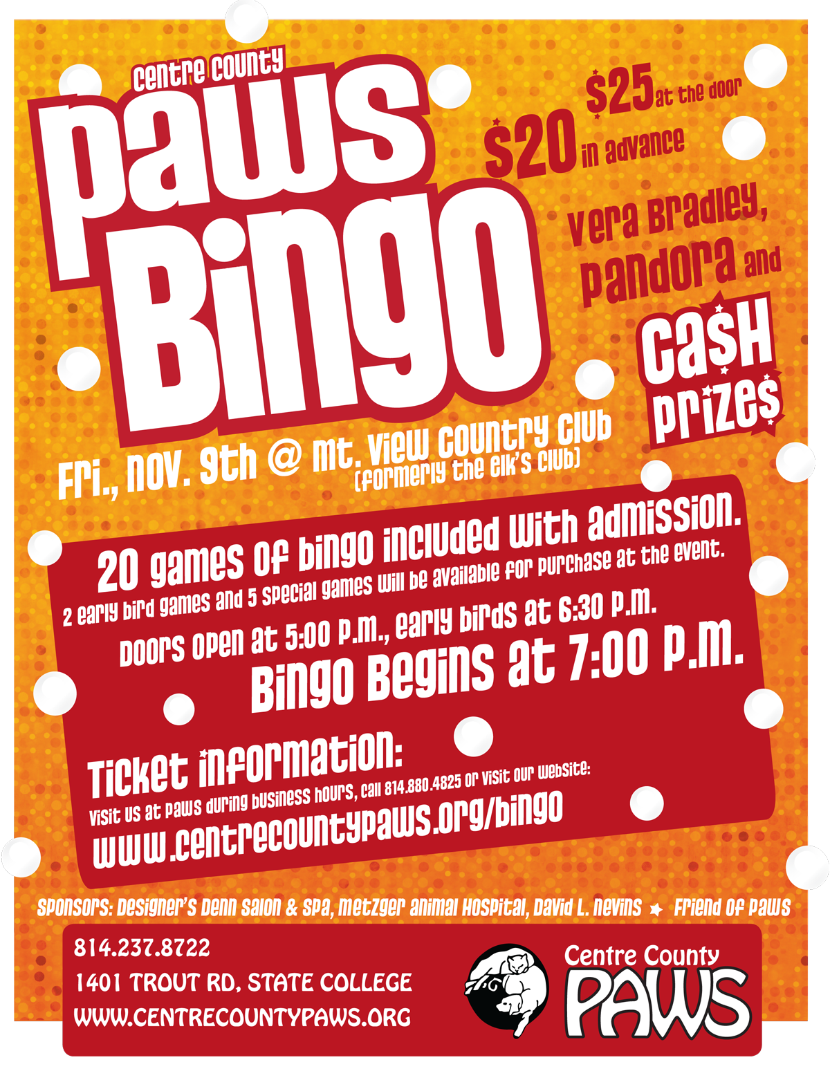 Join us for a night of Bingo to support Centre County PAWS