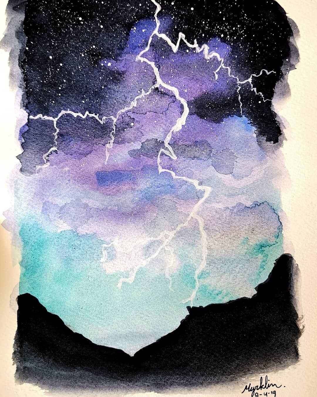 Lightning Myart Aquarell Watercolour Watercolor Art