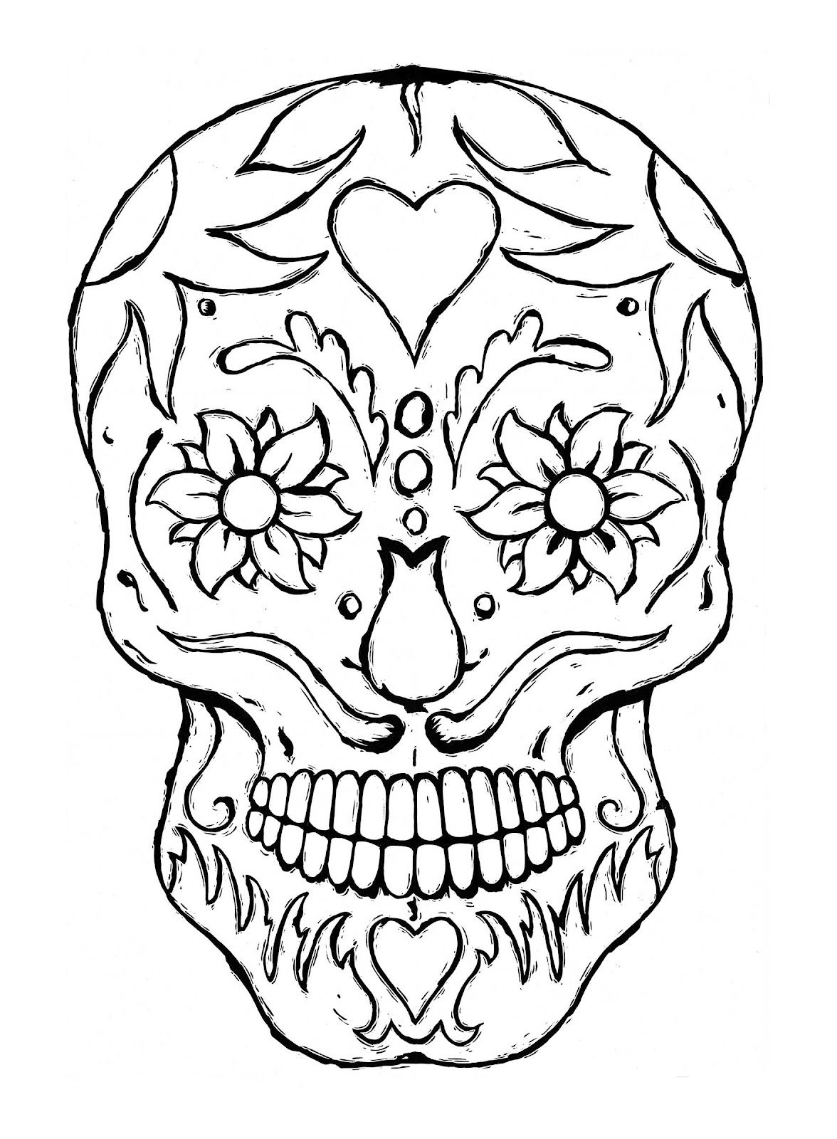 day of the dead dia de los muertos sugar skull coloring pages ... - Coloring Pages Roses Skulls