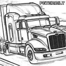 a peterbilt 386 semi truck coloring page - Semi Truck Trailer Coloring Pages