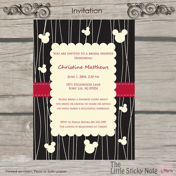 Shower Your Bride With This Cute Disney Themed Bridal Shower Minimum Order 2 Disney Themed Bridal Shower Disney Bridal Showers Bridal Shower Invitations