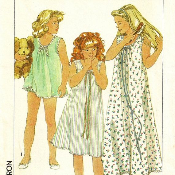 A Nightgown and Baby Doll Pajamas Pattern - Girls Size Large (12-14 ...
