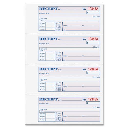 Adams Money and Rent Receipt Book, 3-Part, Carbonless, White - format for rent receipt