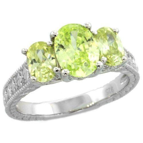 $123.58 USD, Sterling Silver Peridot Cubic Zirconia Engagement by WorldJewels