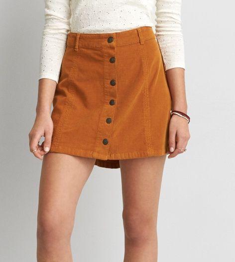 ff9177eb43 Corderoy Skirt, Button Front Skirt, Closet Essentials, Womens Clearance,  Aeo, A