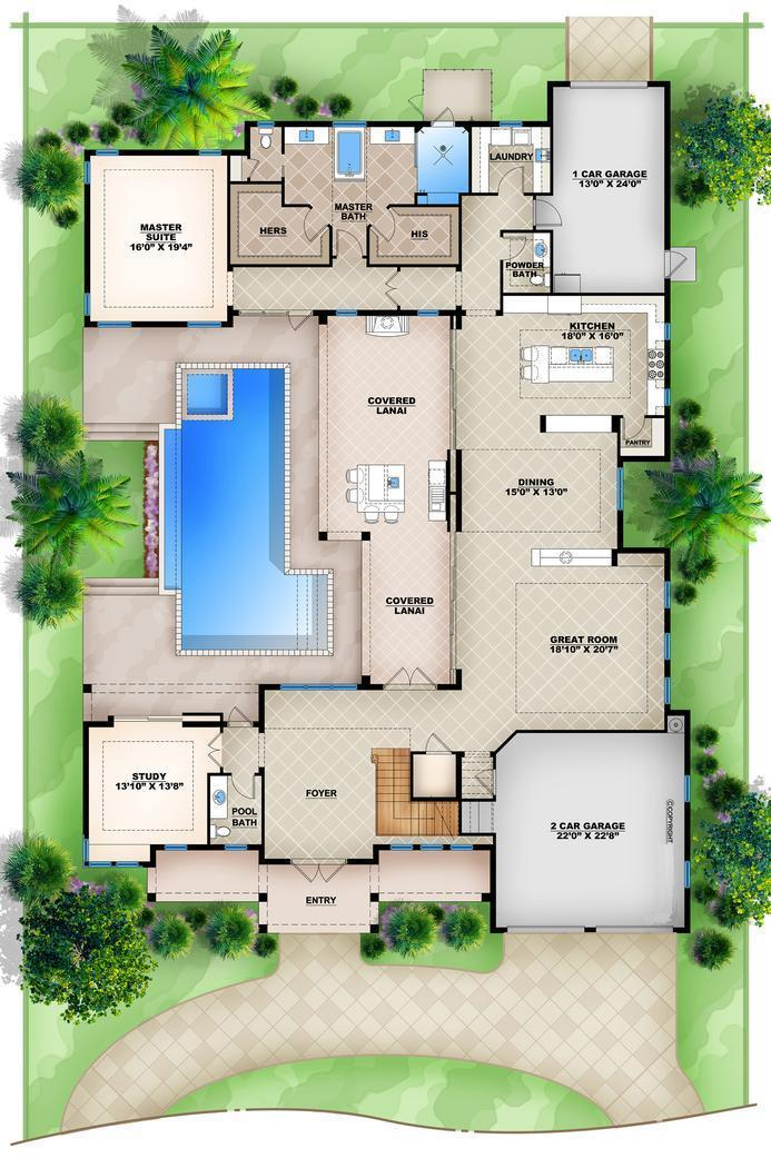 Hpm Home Plans Home Plan 009 4417 Florida House Plans Pool House Plans Beach House Plans