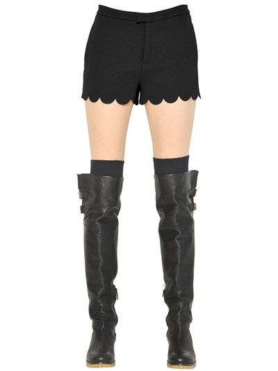 RED VALENTINO Scallop Trim Crepe Envers Satin Shorts, Black. #redvalentino #cloth #shorts