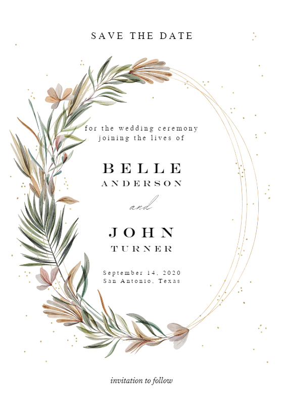 Garden Wreath Rings Save The Date Card Template Free Greetings Island Wedding Invitations Leaves Wedding Invitation Templates Party Invite Template