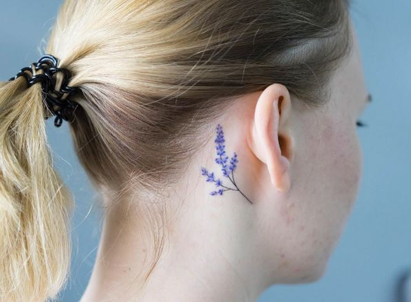 Behind The Ear Tattoo By Zihee Tattoos Lavender Tattoo Ear Tattoo