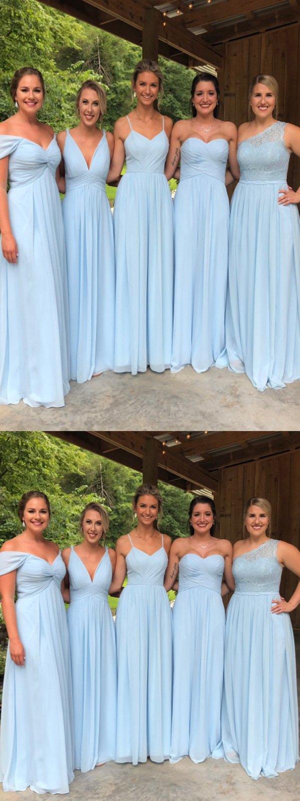Blue chiffon bridesmaid dresses lace bridesmaid dressescheap long